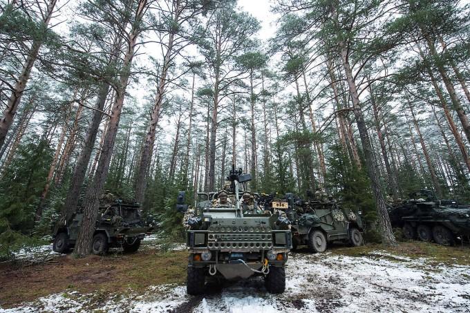Britisches Militär bei einer Übung in Orzysz, Polen, im Dezember 2017