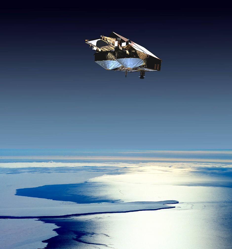 Künstlerische Darstellung des Cryosat-2 Satelliten zur Überwachung der Eisschilde