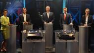 Hier dürfen alle mitreden: Sarah Wagenknecht, Cem Özdemir, Joachim Hermann, Christian Lindner, Alice Weidel (von links).