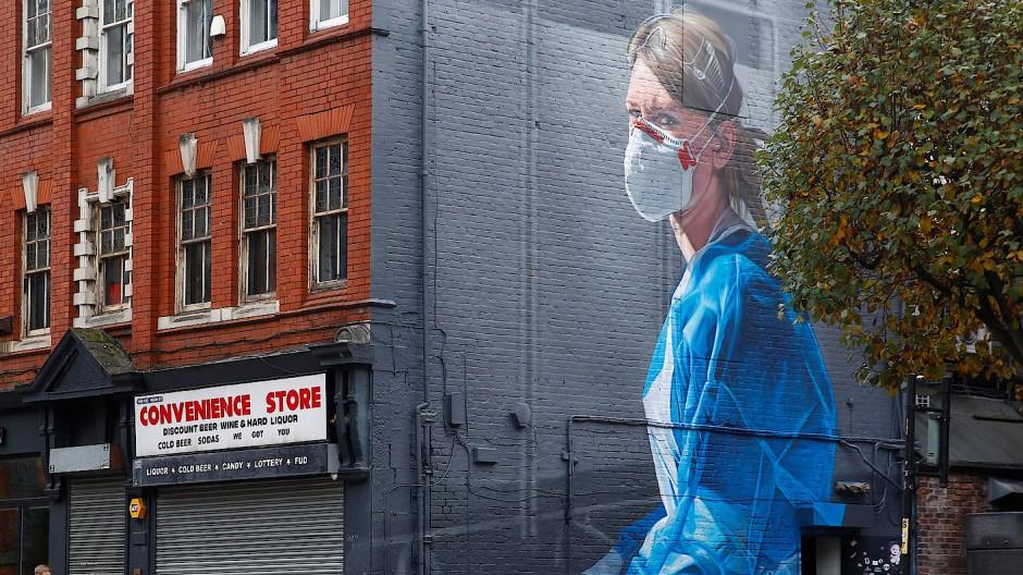 Eine Straße in Manchester am Montag