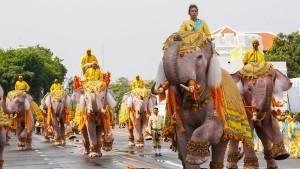 Elefanten verneigen sich vor Thailands König