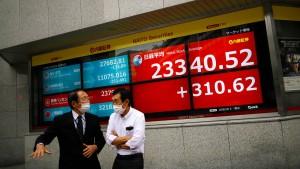 Asiatische Aktien auf zwei-Wochen-Hoch