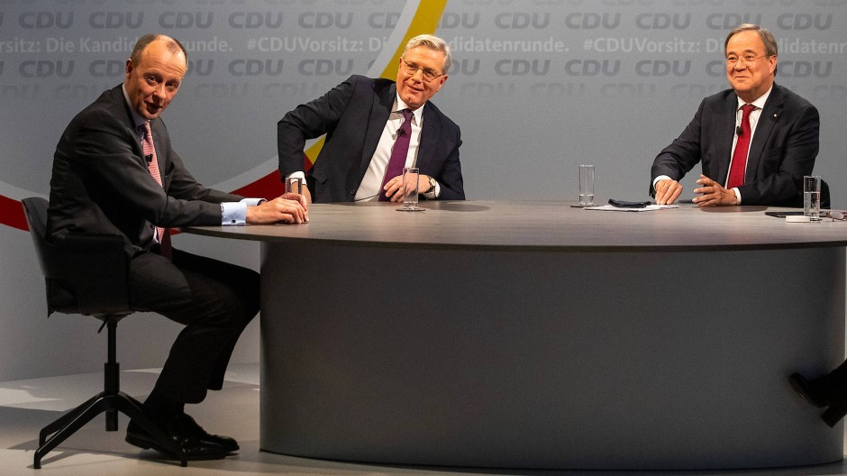 Die Kandidaten um den Parteivorsitz: Friedrich Merz, Norbert Röttgen und Armin Laschet während einer parteiinternen Vorstellungsrunde im Konrad-Adenauer-Haus in der Berlin.