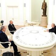 Persönliche Treffen sind selten geworden: Paschinjan, Alijew und Putin am Montag im Kreml