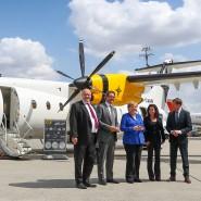 Angela Merkel gemeinsam mit Peter Altmaier, Andreas Scheuer, Eren Ozmen und Michael Kretschmer auf der Nationalen Luftfahrtkonferenz in Leipzig.