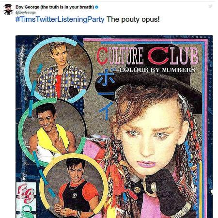 """Auch Boy George von Culture Club hat schon bei den """"Listening Parties"""" mitgemacht - und über """"Karma Chameleon"""" erzählt, dass er Songs mit lustigen Titeln liebt."""