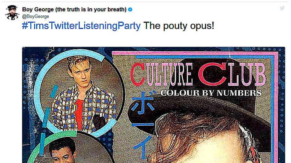 Auch Boy George von Culture Club hat schon bei den Listening Parties mitgemacht - und über Karma Chameleon erzählt, dass er Songs mit lustigen Titeln liebt.