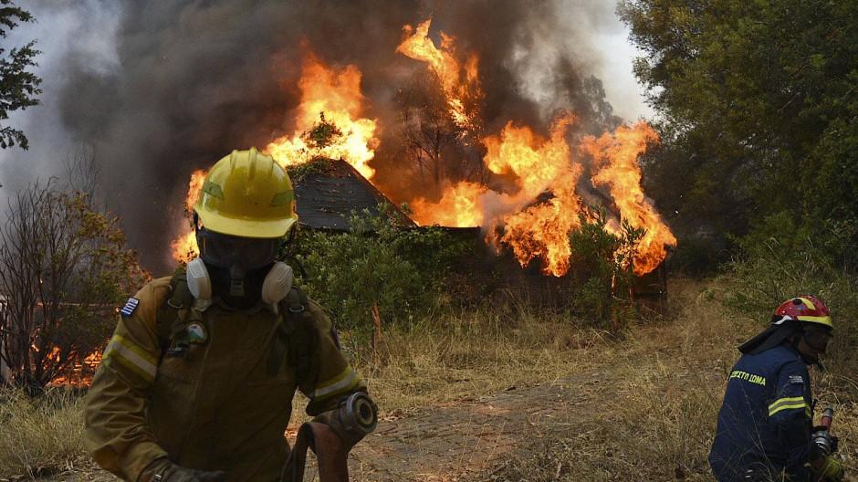 Feuerwehrleute sind im Einsatz während eines Waldbrands westlich von Patras in Griechenland.