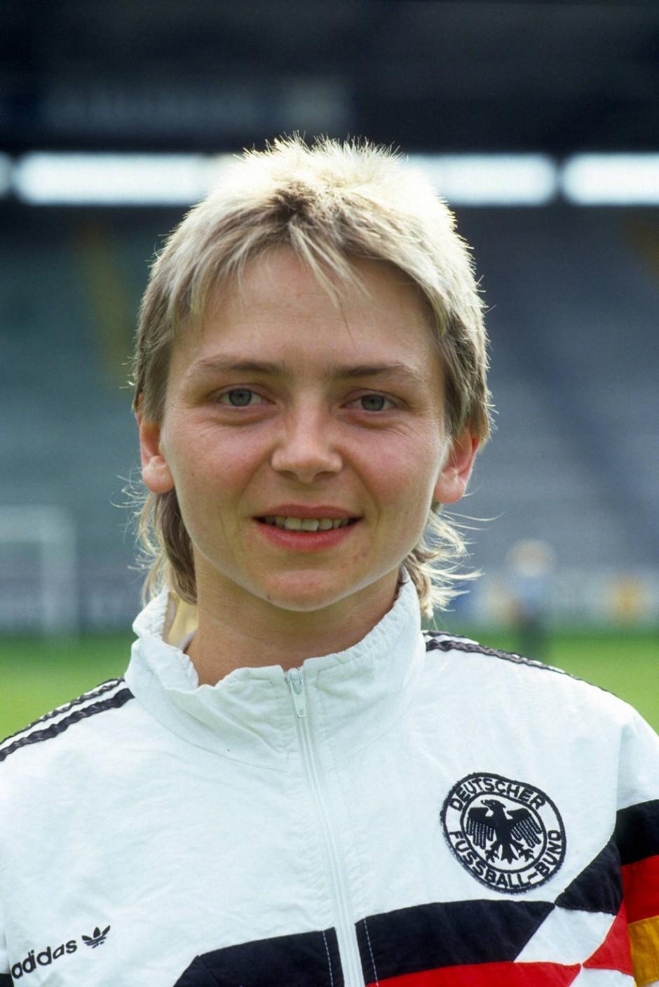 Unbekannte Pionierin: Petra Landers 1991 vor einem Länderspiel