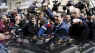 Alexis Tsipras, der Vorsitzende des Linksbündnisses Syriza, gibt sich schon siegessicher.