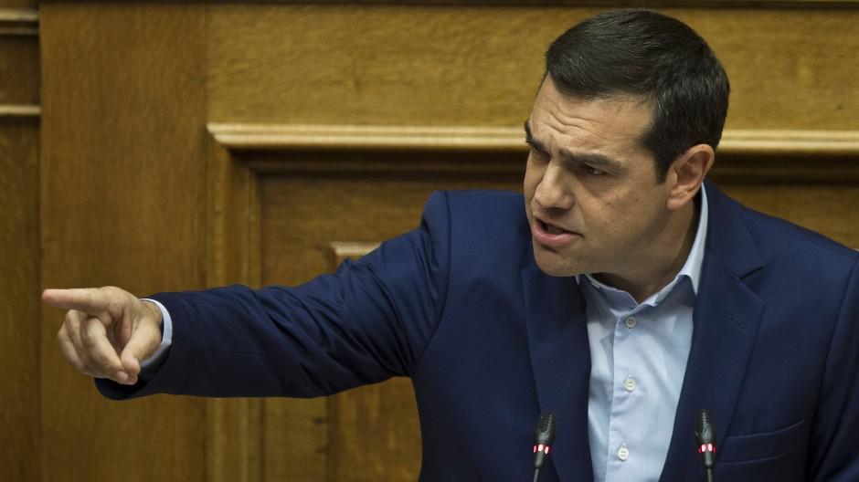 Tsipras hat die Kraftprobe im Parlament in Athen.