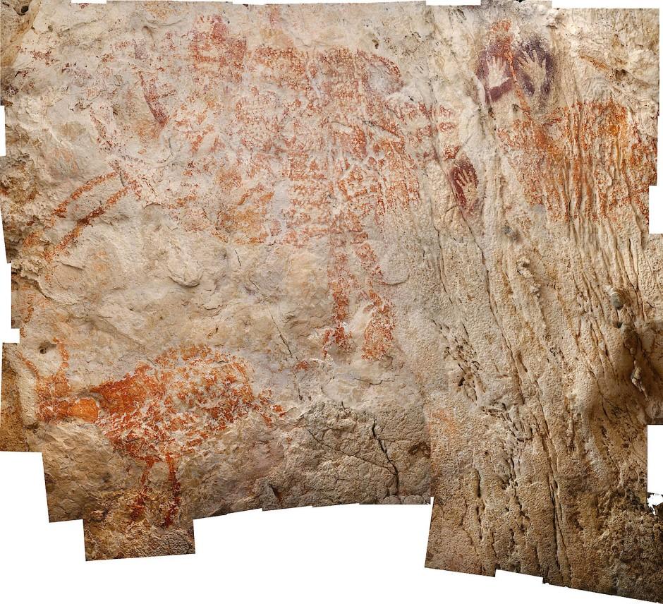 Mit einem Altern von mindestens 40.000 Jahren ist diese Darstellung eines Tieres in einer Höhle auf Borneo die älteste figürliche Malerei der Welt.