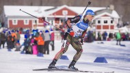 Erik Lesser gut in Form beim Biathlon-Weltcup in Presque Isle in Amerika.