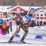 Erik Lesser gut in Form beim Biathlon-Weltcup in Presque Isle in Amerika.