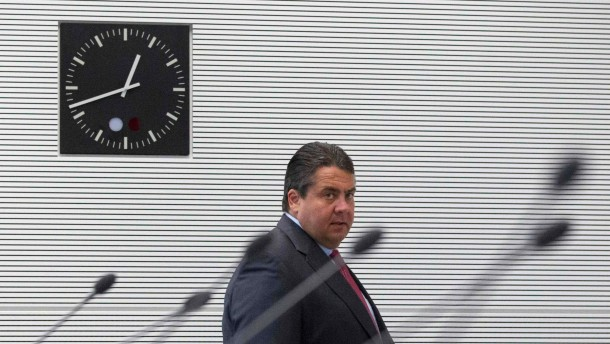 Gabriel arrives at meeting of SPD faction before a parliamentary vote on a Spanish bank aid package in Berlin
