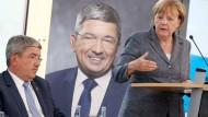 """Setzten auf """"innere  Sicherheit"""" und """"Flüchtlinge"""": das CDU-Duo für Mecklenburg-Vorpommern Lorenz Caffier und Bundeskanzlerin Angela Merkel"""