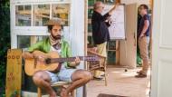 Arbeit mal anders: Zu Gitarrenklängen eines Workshopteilnehmers gibt ein Referent am Flipchart Tipps zu sozialen Medien.