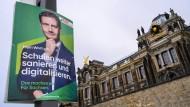 Wahlplakat für den CDU-Spitzenkandidaten und Ministerpräsidenten Michael Kretschmer in Dresden