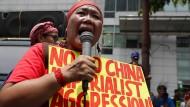 Demonstration vor dem chinesischen Konsulat in Manila an diesem Mittwoch