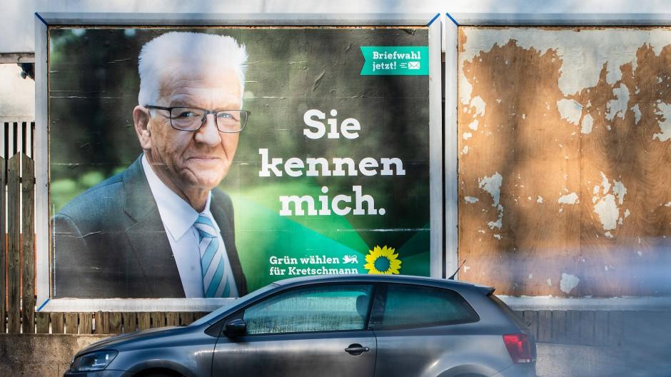 """Amtsbonus: Winfried Kretschmann wirbt mit dem Spruch """"Sie kennen mich"""" für sich."""