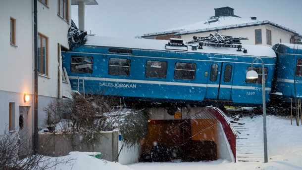 Local train embedded itself in a residential house