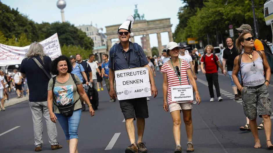 Teilnehmer der Demonstration am Samstag in Berlin