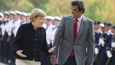Erklärungsbedarf: Bundeskanzlerin Merkel mit dem Emir von Qatar, Tamim al Thani