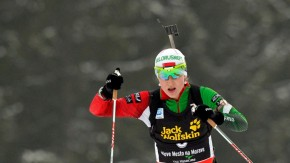 Domracheva of Belarus competes in the women's 12.5 km mass start race during the International Biathlon Union World Championships in Nove Mesto