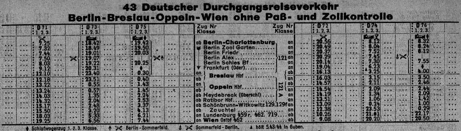 Ein Ausschnitt aus dem Kursbuch von 1939 zeigt, dass der Nachtzug von Berlin damals eine halbe Stunde eher in Wien ankam als heute.