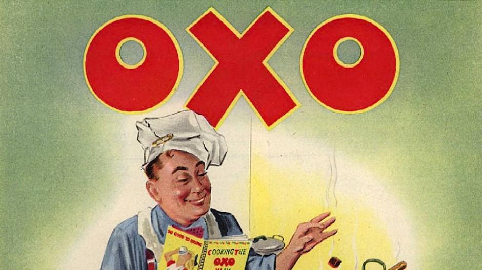 Möchtest du einen Brühwürfel in deine Suppe, Darling? Englisches Werbeplakat anno 1952.