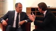 Im Dialog mit außenpolitischen Schwergewichten: Kurz und der russische Außenminister Sergej Lawrow am Montagabend in Wien