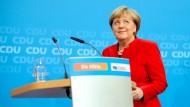 Bundeskanzlerin Angela Merkel (CDU) äußert sich am 20. November 2016 in der CDU-Parteizentrale in Berlin zu ihrer politischen Zukunft als CDU-Vorsitzende und Bundeskanzlerin.