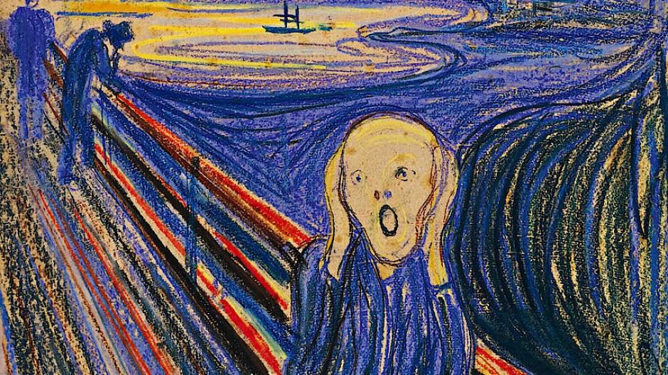 """Ausschnitt aus dem Gemälde von Edvard Munch """"Der Schrei""""."""