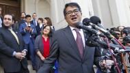 Omar Jadwat, Anwalt der Bürgerrechtsorganisation American Civil Liberties Union (ACLU), die gegen Trumps Einreisebann geklagt hat, vor dem Berufungsgericht in Virginia.