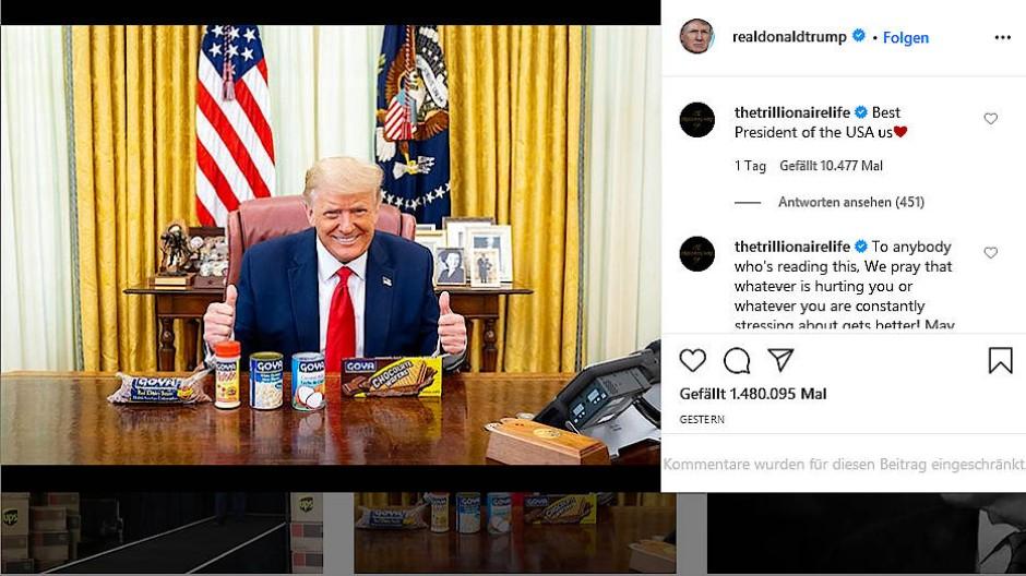 Trump posiert jetzt mit Lebensmitteln