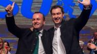 EVP-Spitzenkandidat Manfred Weber (CSU) und CSU-Chef Markus Söder am Mittwoch in Passau