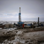 Fracking in Williston, North Dakota: Gefrorene Böden lassen Förderung sinken.