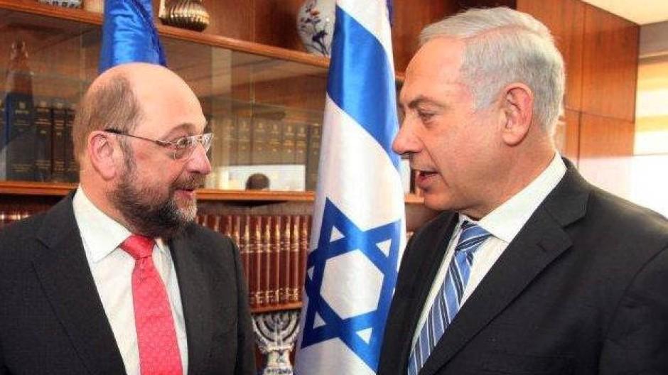 Freundliche Worte in der Knesset: Martin Schulz und Benjamin Netanjahu