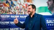 """Damals noch """"Lega Nord"""": Salvini nach dem erfolgreichen Autonomie-Referendum in der Lombardei und in Venetien im Oktober 2017"""