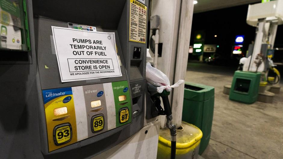 Eine Zapfsäule in Silver Spring ist wegen Kraftstoffmangels außer Betrieb.
