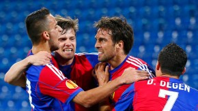 FC Basel's Delgado celebrates with team mates Stocker, Degen and Aliji after scoring a goal against Valencia during their Europa League quarter-final first leg soccer match in St.Jakob-Park stadium in Basel
