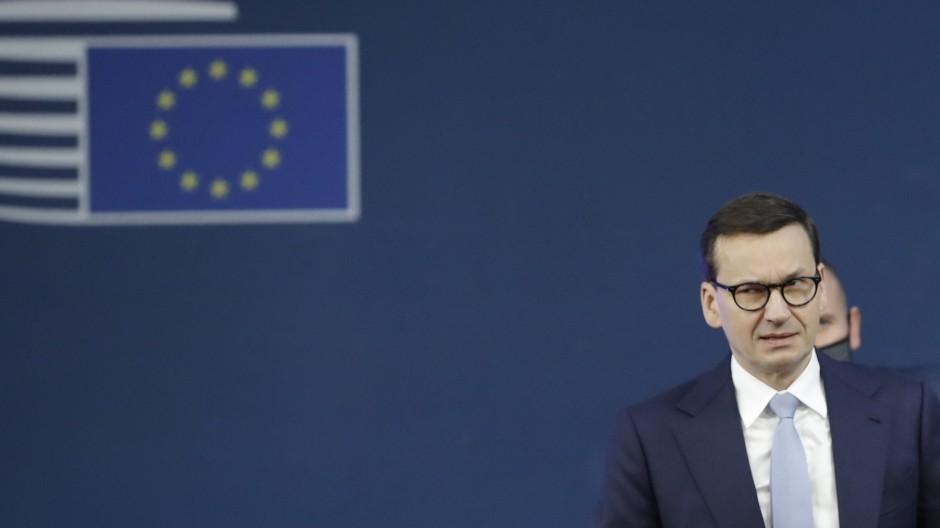 Polens Ministerpräsident Mateusz Morawiecki bei seiner Ankunft zum EU-Gipfel in Brüssel am 22. Oktober 2021