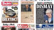 Die Titelseiten britischer Tageszeitungen am Tag nach der Abstimmung über den Brexit-Deal