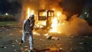 """Die """"Flammen des Dschihad""""? In Jakarta ist es am Freitag zu gewalttätigen Demonstrationen gekommen."""
