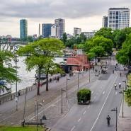 Eine Straße, zwei Ansichten: Nach der Sperrung für den Autoverkehr konnten die Frankfurter den Mainkai zu Fuß und mit dem Fahrrad nutzen.