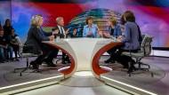 """Maybrit Illner diskutiert in ihrer Sendung am 19. Oktober 2017 mit Gästen zum Thema: """"Wohlstand, Werte, Wechsel – wofür soll Jamaika stehen?"""""""