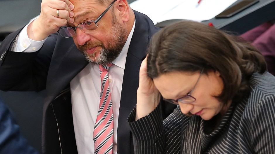 Der SPD-Vorsitzende, Martin Schulz, und die SPD-Fraktionsvorsitzende, Andrea Nahles, im Dezember im Bundestag
