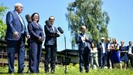 Volker Kauder (CDU), Andrea Nahles (SPD) und  Alexander Dobrindt (CSU) am Dienstag in Murnau (v.l.).