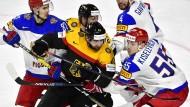 Chancenlos: Das deutsche Eishockey-Team zeigt gegen Russland vor allem zu Beginn eine desolate Leistung.