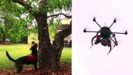 Hunde und Drohnen kämpfen gemeinsam